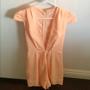 Peach plunge neck romper